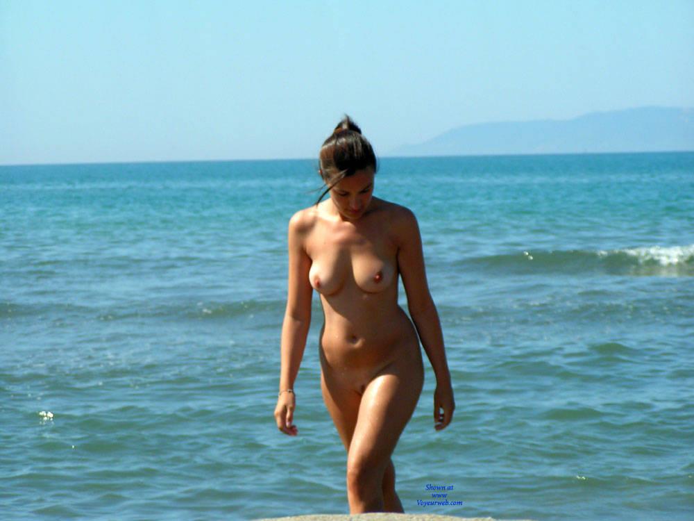 Pic #1 - Nude Beach - Big Tits, Brunette Hair, Beach Voyeur , Nude Beach, Natural Breasts, Brunette Hottie, Sexy Babes