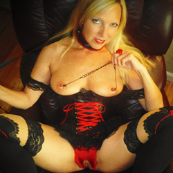Rosa Leashed And Submissive - Big Tits, Blonde, Lingerie