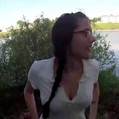 Public Blowjob And Facial - Nature, Cumshot, Brunette, Blowjob, Wife/Wives