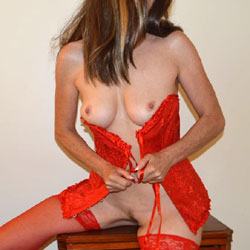 Zeena In Red - Big Tits, Brunette Hair, Sexy Lingerie