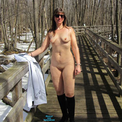 Walk On The Path - Brunette Hair, Nude In Public, Shaved