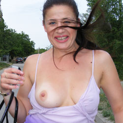 A Walk  - Big Tits, Brunette, Flashing, Public Exhibitionist, Public Place, Shaved