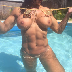 L's First Pool Shoot - Big Tits, Bikini Voyeur