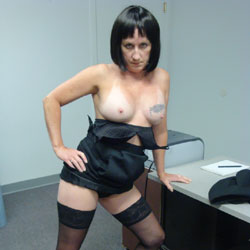 A Little Show And Tell In The Office - Brunette, Lingerie