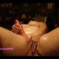 PrincessWolf Oiled Dildo Masturbation 1864 - Big Tits, Masturbation, Shaved, Toys