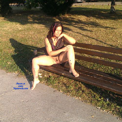 Summer Evening On Danube - Brunette, Public Exhibitionist, Public Place, Tattoos