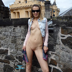 Nude At Stirling Castle In Scotland - Blonde Hair, Exposed In Public, Firm Tits, Flashing Tits, Flashing, Full Frontal Nudity, Nipples, Nude In Public, Shaved Pussy, Showing Tits, Small Breasts, Small Tits, Sunglasses, Hairless Pussy, Pussy Flash, Sexy Body, Sexy Figure, Sexy Girl, Sexy Legs