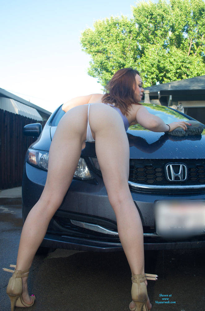 Sexy Sheer Wet Car Wash Strip - July, 2015 - Voyeur Web-6377