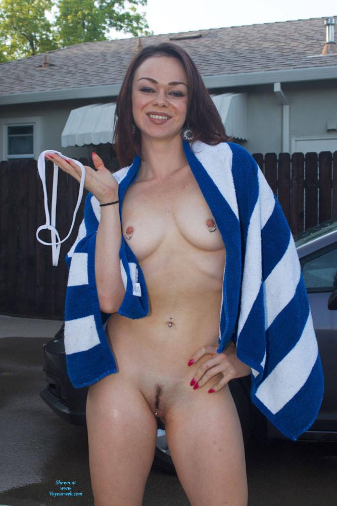 Sexy Sheer Wet Car Wash Strip - Brunette Hair, Heels, Sexy Lingerie , Horny, Slut, Brunette, Babe, Wet Girls, Bikini Car Wash