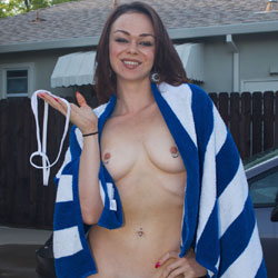 Sexy Sheer Wet Car Wash Strip - Brunette, High Heels Amateurs, Lingerie