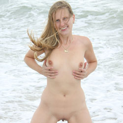 Bri On The Beach - Shaved, Beach Voyeur