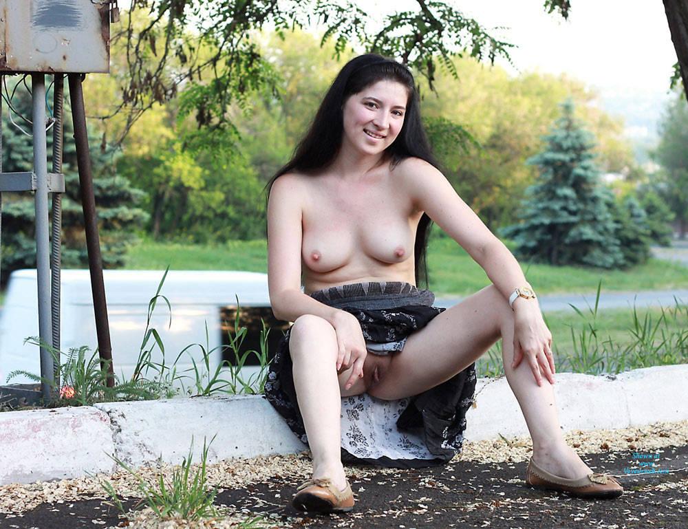 Pic #9 Kiki - Big Tits, Brunette, Public Exhibitionist, Public Place