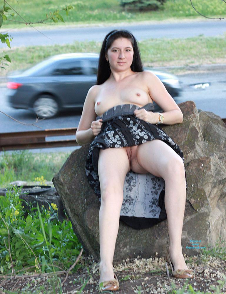 Pic #10 Kiki - Big Tits, Brunette, Public Exhibitionist, Public Place