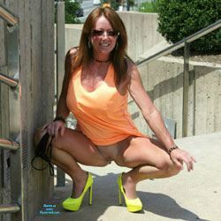 Playing Around On The Skywalk  - High Heels Amateurs, Public Exhibitionist, Public Place, Shaved