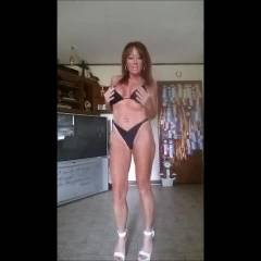 Strip Your Bikini While In Heels - Big Tits, Bikini, Brunette Hair, Heels, Shaved