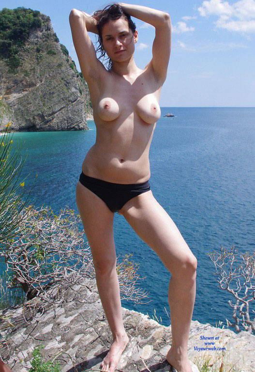 Pic #1 - On The Beach - Big Tits, Brunette Hair, Beach Voyeur , Amateur, Nude Model, Nude Beach, Outdoors, Brunette
