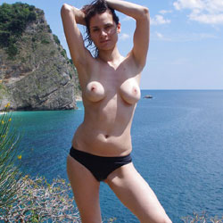 On The Beach - Beach, Big Tits, Brunette