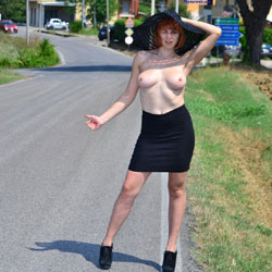 Autostop - Big Tits, Exposed In Public, Flashing, Heels, Nude In Public