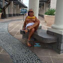 Nude Blonde Granny In Public - Big Tits, Blonde Hair, Exposed In Public, Flashing Tits, Flashing, Nude In Public, Sandals, Sunglasses, Sexy Boobs, Sexy Legs, Sexy Woman, Wife/Wives