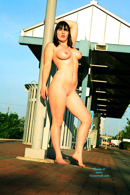 Pic #1 - Waiting For The Train - Big Tits, Brunette Hair, Exposed In Public, Nude In Public , Brunette, Babes, Big Tits, Horny Slut