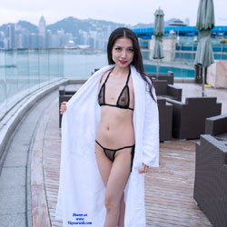 Petite Girl - See Thru Bikini - Bikini, Brunette Hair, Heels, See Through