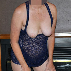 Sara In A Black Lace Body Stocking - Big Tits