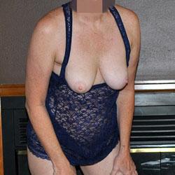 Sara In A Black Lace Body Stocking - Big Tits