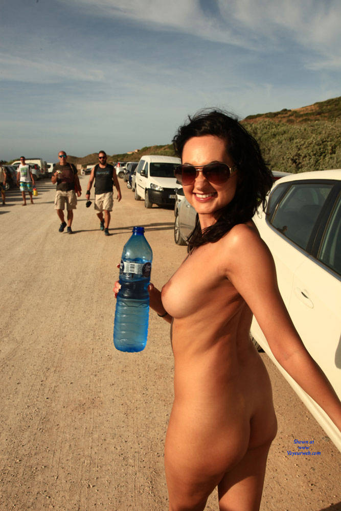 Pic #3 Dare - Can You Travel Naked The Whole Way - Big Tits, Brunette, Flashing, Public Exhibitionist, Public Place, Shaved