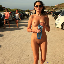 Dare - Can You Travel Naked The Whole Way - Big Tits, Brunette, Flashing, Public Exhibitionist, Public Place, Shaved
