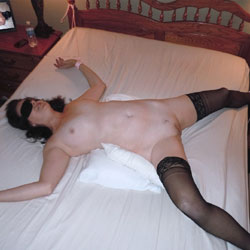 Spread Eagle Bed Tied Blindfolded Invitation - Brunette, Lingerie, Shaved