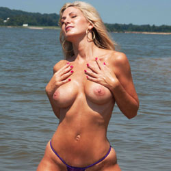 Valerie At The Beach - Big Tits, Bikini, Blonde Hair, Beach Voyeur
