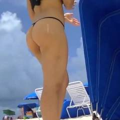 Nikki Brazil Doesnt Wear Much At The Beach! - Beach Pussy, Firm Ass, Brunette, Big Tits, Beach, Micro Thong
