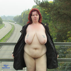 Totaly Naked On A Bridge - Public Place, Public Exhibitionist, Flashing, Big Tits, Redhead