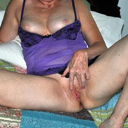 Sara Wearing Purple - Big Tits, Lingerie