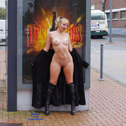 Naked Blonde At The Sidewalk  - Blonde Hair, Boots, Exposed In Public, Flashing, Full Frontal Nudity, Hard Nipple, Naked Outdoors, Nipples, Nude In Public, Shaved Pussy, Showing Tits, Hot Girl, Naked Girl, Sexy Body, Sexy Girl, Sexy Legs