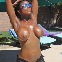 Yummy Nude Ebony Wearing Sunglasses - Big Tits, Exposed In Public, Hanging Tits, Nude Outdoors, Perfect Tits, See Through, Showing Tits, Sunglasses, Hairless Pussy, Hot Girl, Sexy Body, Sexy Boobs, Sexy Girl, Sexy Legs, Ebony