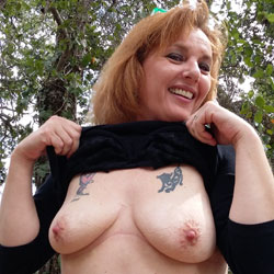 Flashing In The Redwoods - Big Tits, Nature, Redhead, Tattoos
