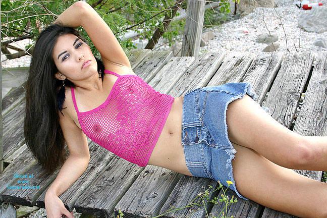 Pink See-Thru Fishnet At The Lake - Brunette Hair, See Through , Nude, Latina, Hispanic, Sexy, Teen