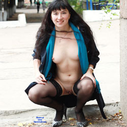 Kiki - Big Tits, Brunette, Flashing, High Heels Amateurs, Lingerie, Public Exhibitionist, Public Place, Shaved
