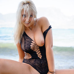 Carolina At The Lake Black Body Suit - See Through, Firm Ass, Blonde, Big Tits, Beach, Shaved