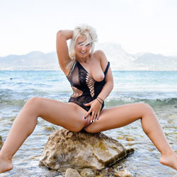 Carolina At The Lake Black Body Suit RC - Firm Ass, Blonde, Big Tits, See Through