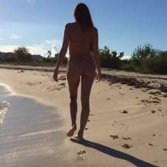 Walking By The Sea - Beach, Brunette, Firm Ass