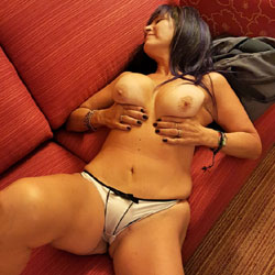 Wife In Hotel Couch - Big Tits, Brunette, Lingerie, Wife/Wives