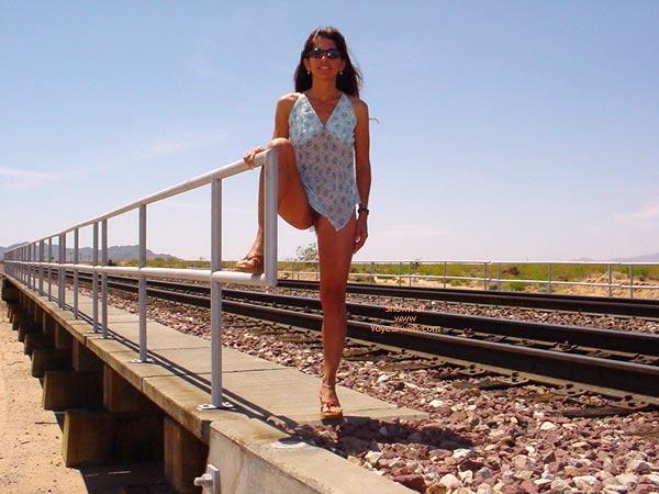Pic #1 - Brunette Flashing A Train