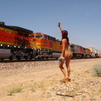Waving At Train - Nude In Public
