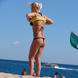 Black Thong - Beach, Bikini Voyeur, Blonde