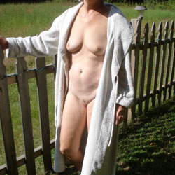 Naked By The Fence - Shaved, Big Tits