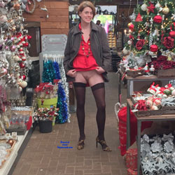 Christmas Nude At The Store - Big Tits, Exposed In Public, Flashing, Heels, Milf, Nude In Public, Shaved Pussy, Hairless Pussy, Hot Girl, Sexy Girl, Sexy Legs, Sexy Lingerie, Wife/Wives