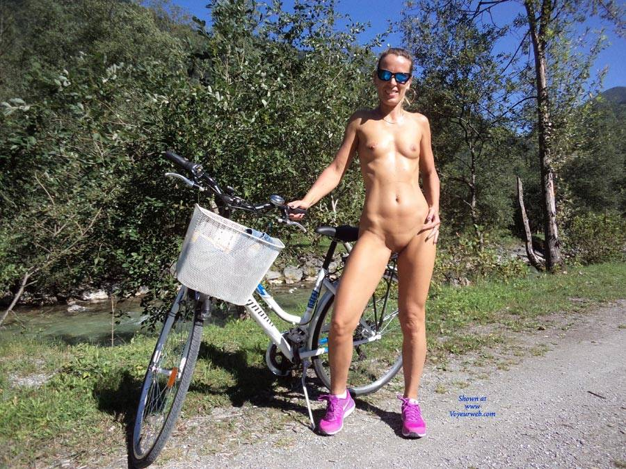 Pic #1 - Nude Biking In The Alps - Nude In Public, Shaved , Nude Outdoors, Small Tits, Nude Biking, Camping Nude