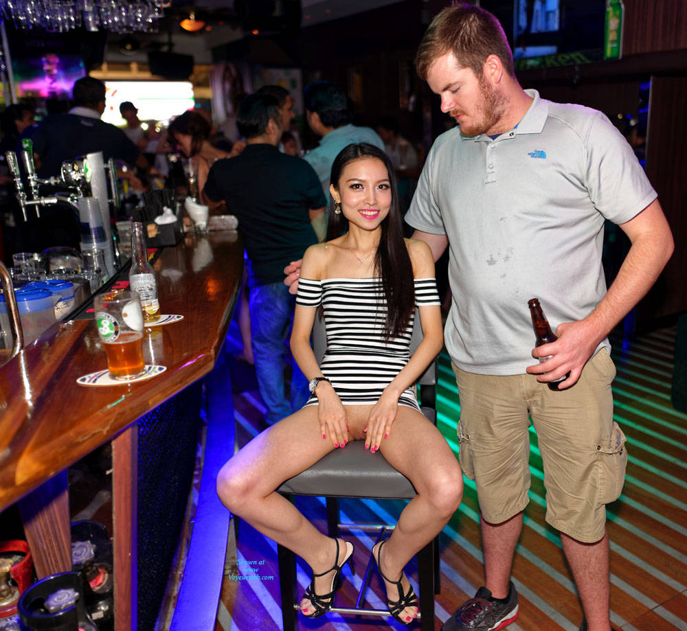 Finger Banged In The Bar By A Stranger - Brunette Hair, Exposed In Public, Nude In Public, Naked Girl , Sexy, Nude, Asian, Nude In Public, Fingerbanging